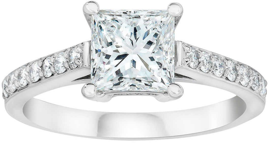 f0f0cdcee11 Princess Cut 1.20 ctw VS2 Clarity, I Color Diamond Platinum Ring ...