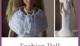Fashion Doll Shoulder Wrap ~ FREE Crochet Pattern #dolldresspatterns