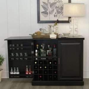 Home Decorators Collection Jamison Black Bar With Expandable Storage 7400800210 The Home Depot Home Decor Home Decorators Collection Home