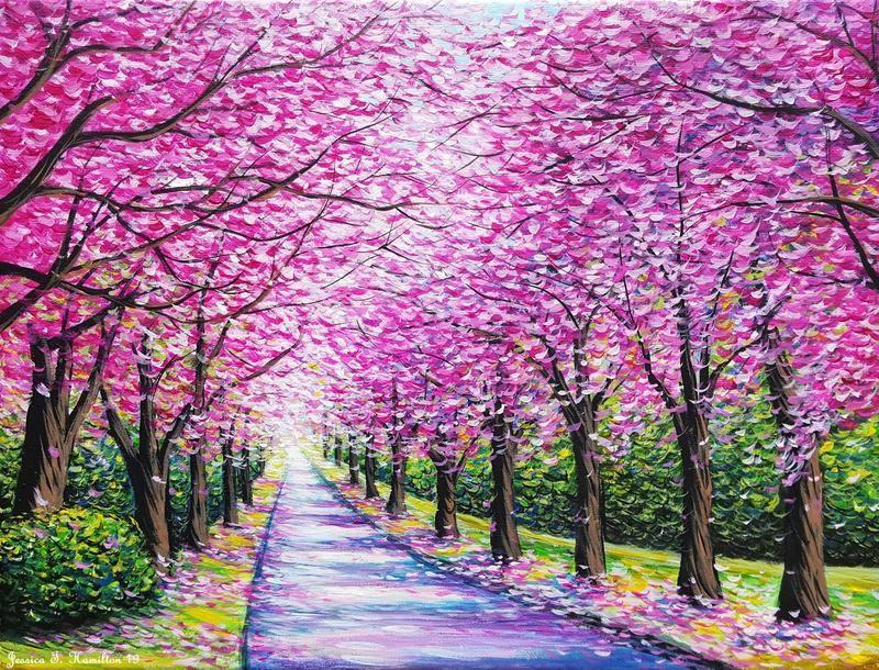 Path Of Cherry Blossoms By Jessicathamilton On Deviantart Cherry Blossom Painting Acrylic Cherry Blossom Painting Blossoms Art
