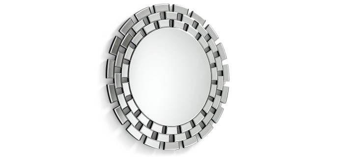Espejo praia redondo con marco de cristal biselado ideal for Espejo marco cristal
