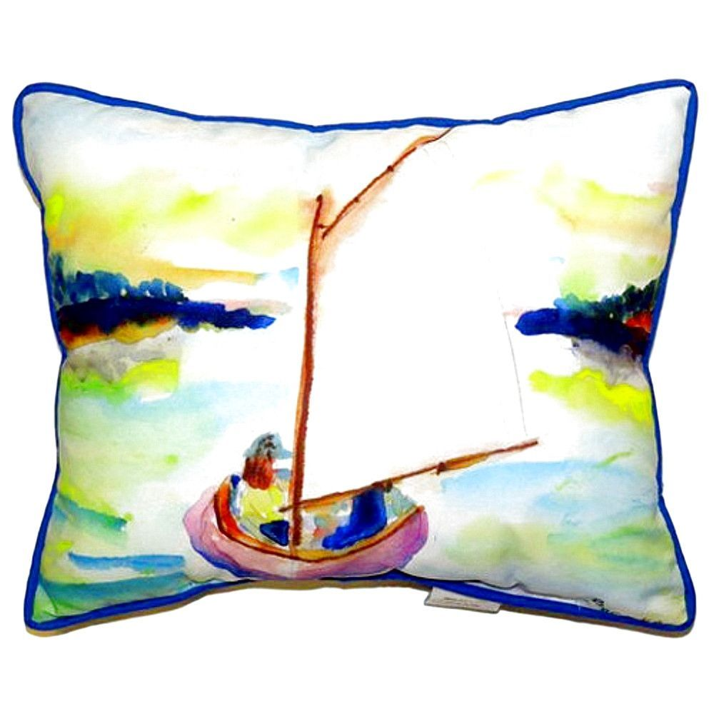Pink Sailboat Extra Large Zippered Indoor or Outdoor Pillow 20x24