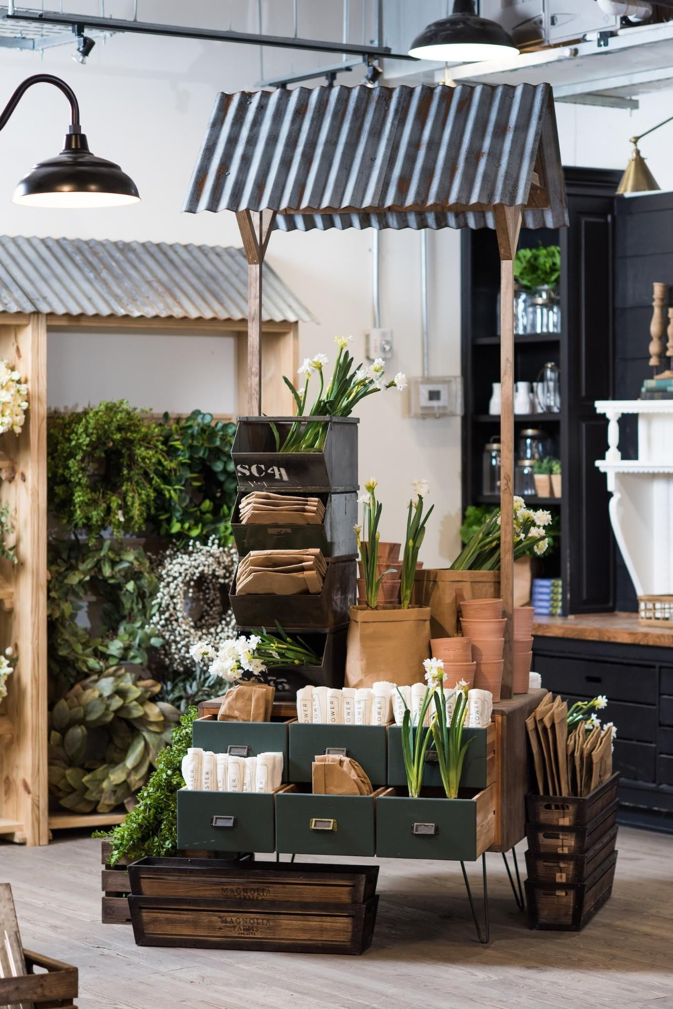 Spring at Retail store design, Farmers market display
