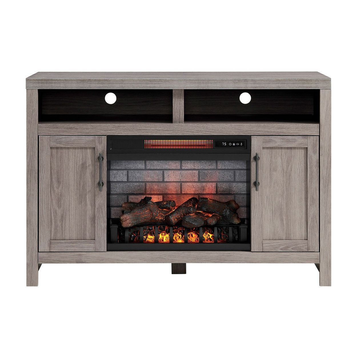 Greentouch 48 In W Weathered Gray Infrared Quartz Electric Fireplace Lowes Com In 2020 Electric Fireplace Fireplace Grey Wash