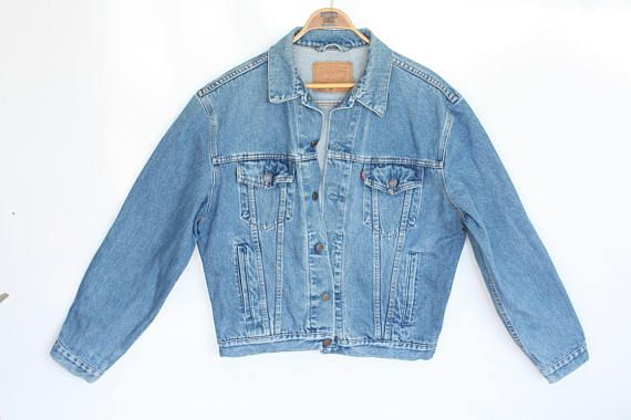 3a5214a1 vintage LEVIS jacket oversized jean jacket grunge unisex denim jacket Levi trucker  jacket light medium blue wash denim womens mens L Large