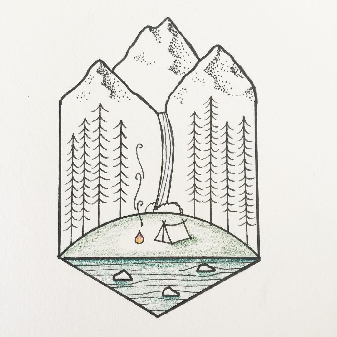 c908c94252756 Wouldn't this be just the perfect place to camp #tattoo #gettingcloser # camping #mountains #forest #drawing #design #art