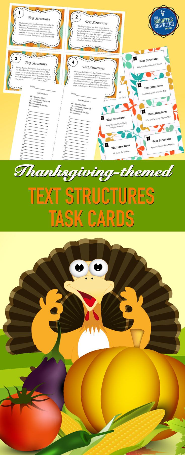 Thanksgiving Text Structures Task Cards Task cards