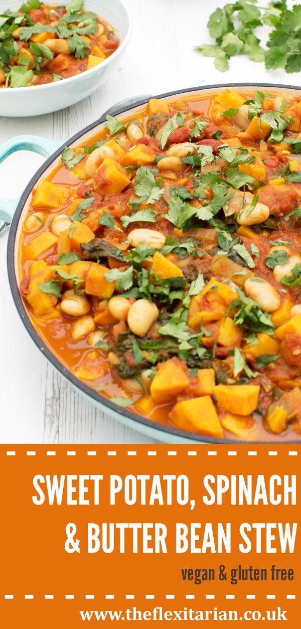 Sweet Potato Spinach Butter Bean Stew Vegan Gluten Free