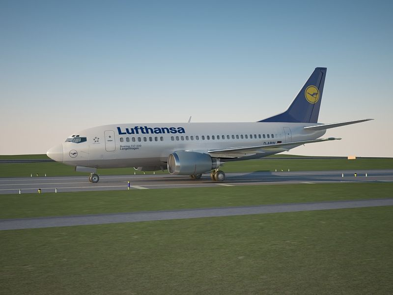 Boeing 737 500 Lufthansa 3d Model Technical Detail Render Vray Adv 2 40 03 Used Vraysun And Vraysky All Texture And Material Boeing 737 3d Model Boeing