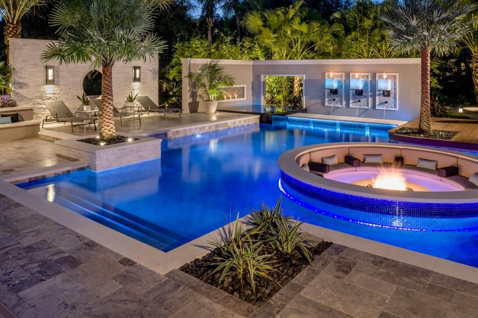 Tropical Pool With Sunken Fire Pit Seating Area Fabdyzn