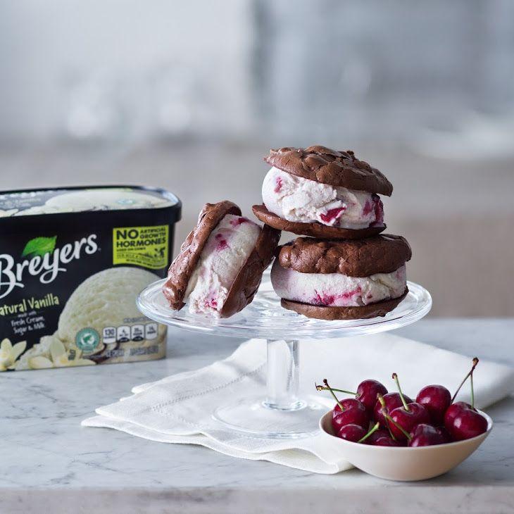 Brookie Cherry Ice Cream Sandwiches