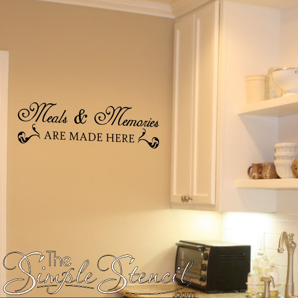 Vinyl Sticker Sayings Personalized Kitchen Wall Decal Quote Art Meals and Memories are Made Here Decor Lettering Family Name