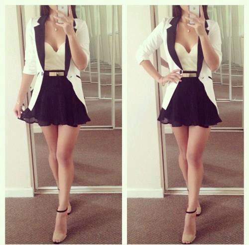 Black Flare mini skirt. cream blazer trimmed with black, cream top ...