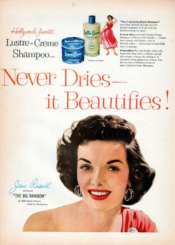 Jane Russell for Lustre-Creme Shampoo (1955). #vintage #1950s #shampoo #hair #beauty #ads