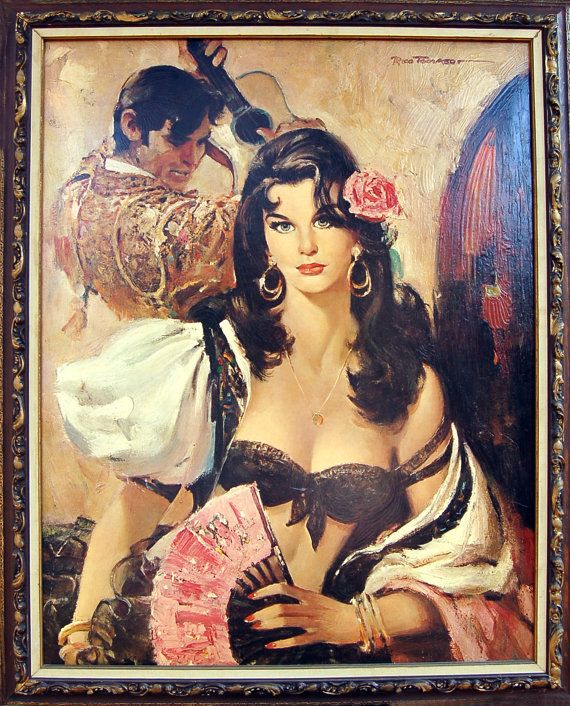 f25359e41b6a Huge Framed Art Spanish Lady of Seville Bullfighter Matador Signed ...