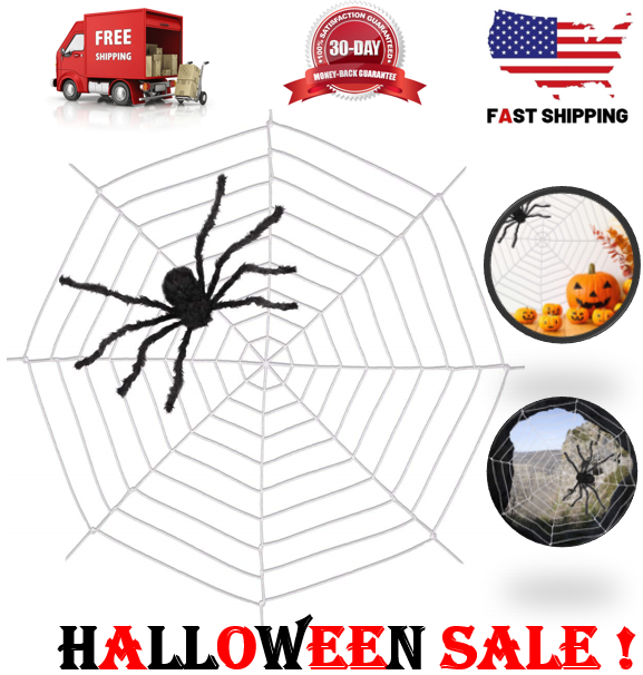 9 64 Halloween Giant Spider Web 9 85 Stretchy Outdoor Yard Spooky Scary Decor Home Halloween Spider Stretchy Outdoor Spo Scary Decorations Giant Spider Outdoor Halloween