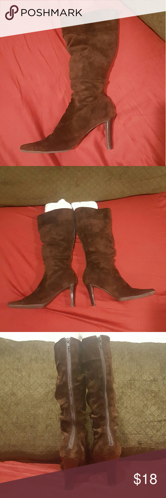 """Soft suede slouch boot Mid-calf brown genuine leather slouch boot. Pointed toe, full zip closure in back, cuffed top.  Soft suede, gently worn.  Surprisingly comfortable for a 3.5"""" heel. Boot height 16.5"""". Cuff circumference  14"""". White Mt 'carson' boot. White Mt Shoes Heeled Boots"""