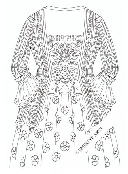 Druckbare Malseite - kolonialen Kleid | Colonial, Adult coloring and ...