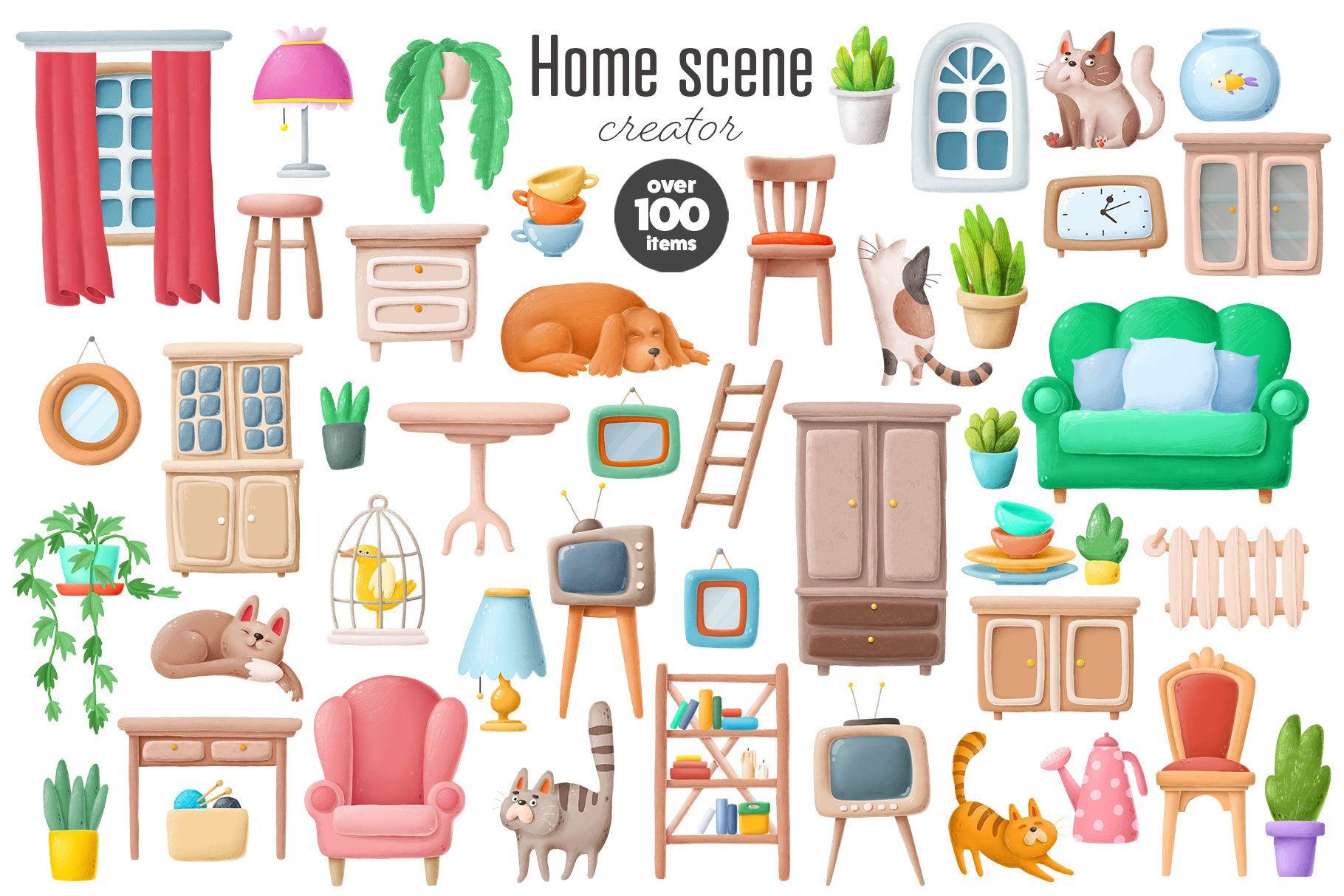 Interior Clipart Bundle Furniture Home Plants Cats And Etsy Dog Clip Art Clip Art Scene Creator