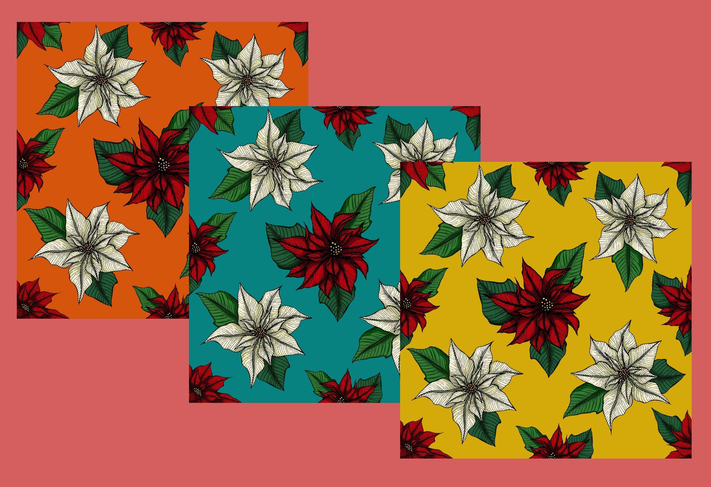 Poinsettia Christmas flowers digital paper downloads, 34