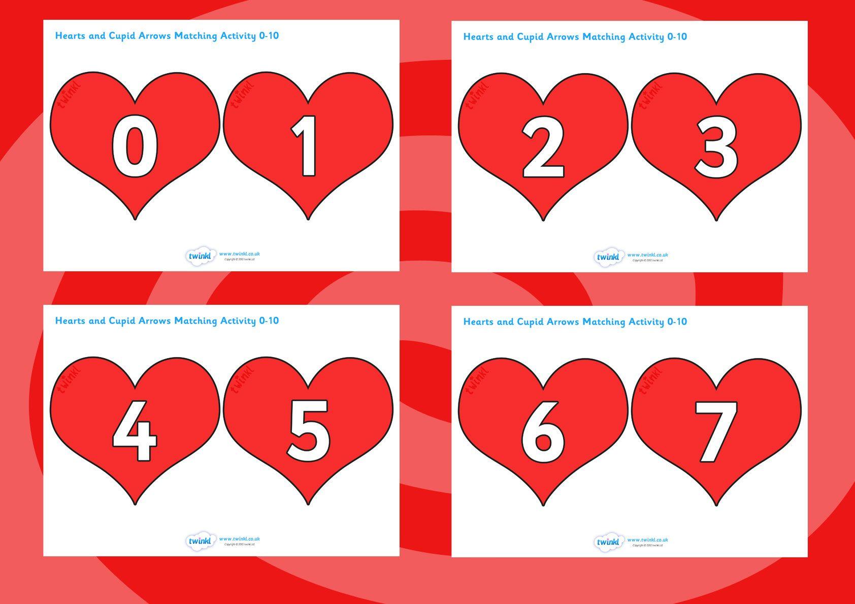 Free Printable 0 10 Numbers On Hearts School Maths Fun
