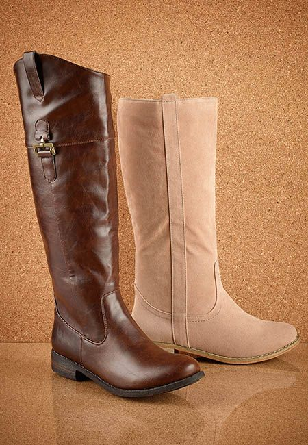 Tall boots in brown and nude - are great with skinny jeans and cozy sweater.