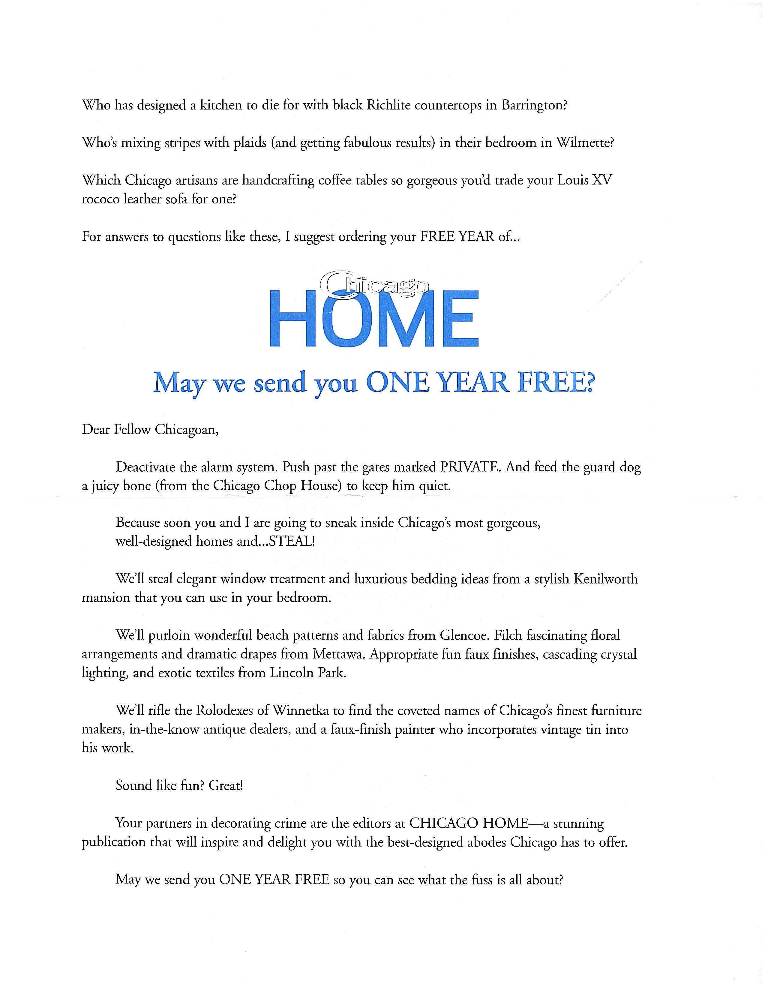My Direct Mail Sales Letter For Chicago Home Magazine Became A