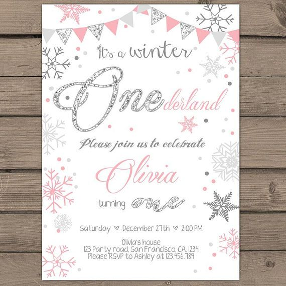 Photo of Items similar to Winter ONEderland invitation Birthday party invite Winter birthday party Winter ONEderland Snowflakes Pink silver glitter PRINTABLE wob on Etsy