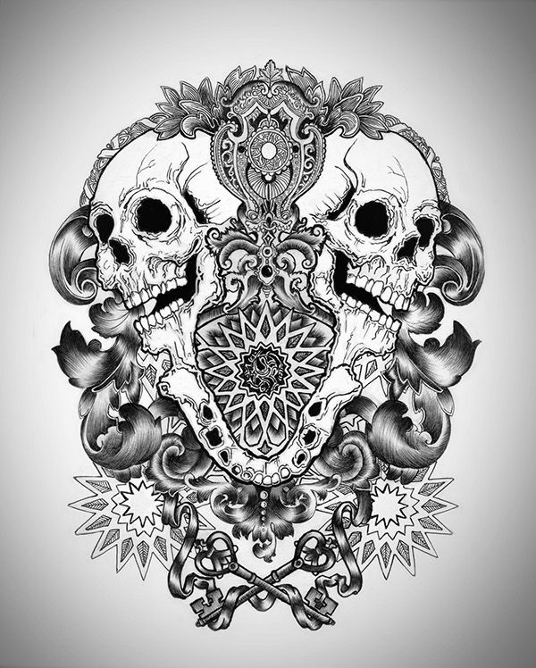 Illustration Made By Using With Black Ink And Pen On Paper Geometric Sleeve Tattoo Tattoo Design Drawings Skull
