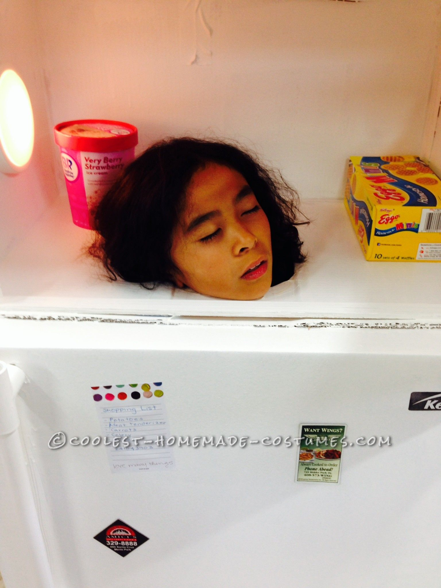 realistic looking refrigerator costume with frozen head inside coolest online halloween costume contest