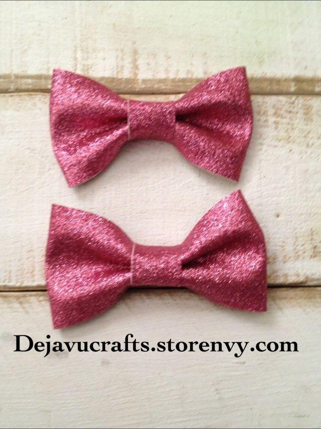 Pink Glitter Hair Bows