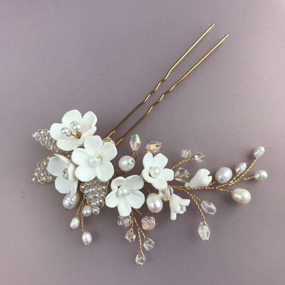 Wedding hair pin white flower crystal leaf Bridal hair piece Pearl headpiece for wedding Rose gold h #bridalhair