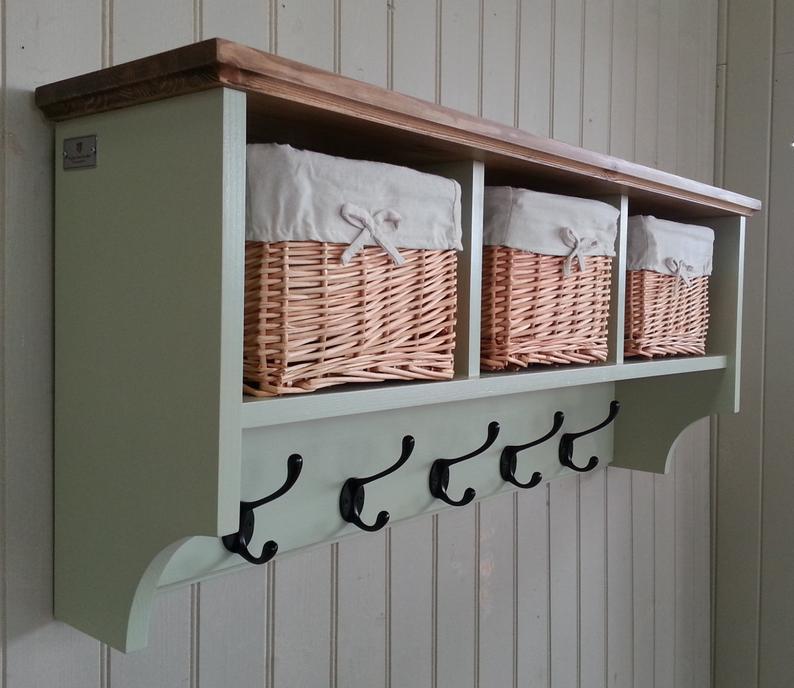 Hat Coat Rack With Shelf Including Storage Baskets Etsy In 2020 Coat Rack Shelf Coat Rack Wall Storage Baskets