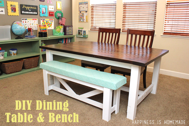 Diy Farmhouse Table & Bench  Happiness Is Homemade  Diy Bench Endearing Dining Room Bench Plans Decorating Design