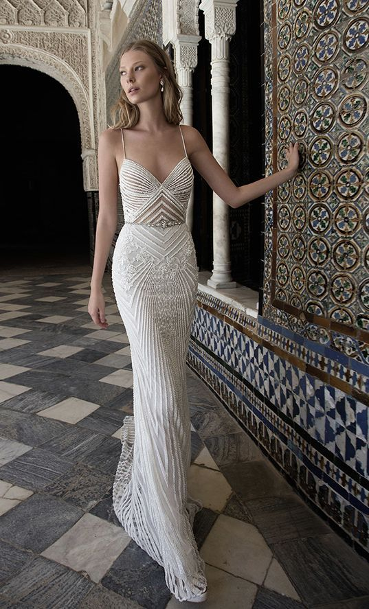Spaghetti Strap V-Neck Geometric Design Embellished Wedding Dress ...