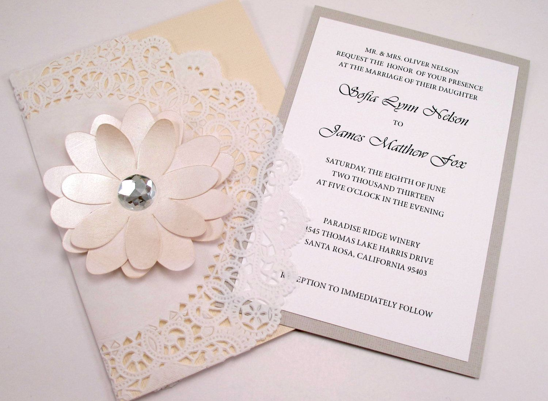 Elegant Lace Doily Wedding Invitation Crystal Jewel