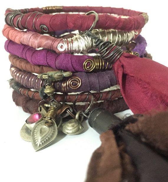 Bohemian Bangles! Sari Silk Bracelets Eclectic Gypsy Charms Beads Bullet Shell Silk Tassel Kuchi Coin Bells Post Apocalyptic Jewelry