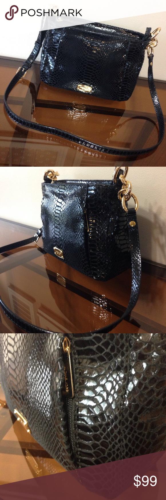 e58300fae776 MK HALLIE BLACK PYTHON MD MESSENGER CROSSBODY NWOT. 🚫Price Is FIRM🚫 Michael  Kors Bags Crossbody Bags