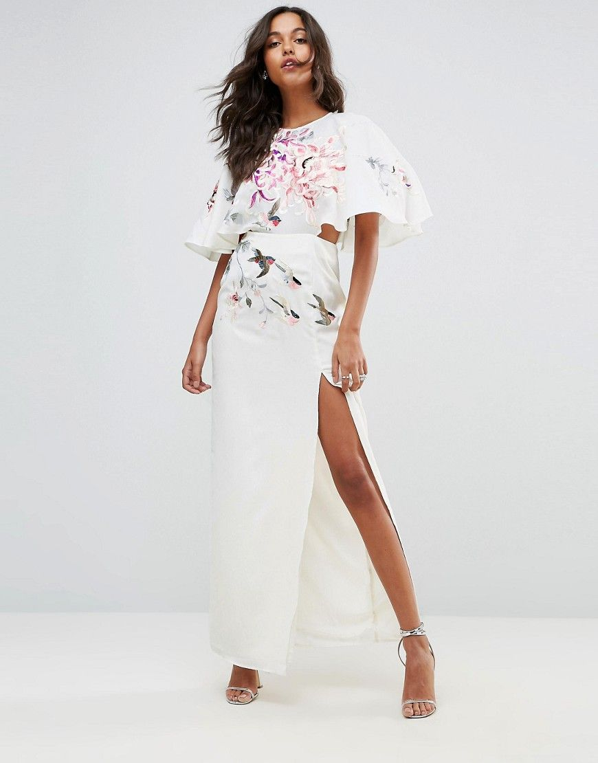 Embroidered side cut out maxi dress side cuts and products