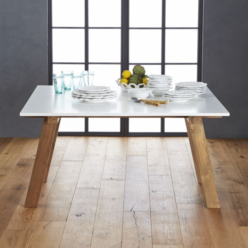 Riviera Square White Top Dining Table | Crate And Barrel Not Crazy About  The Sawhorse Legs