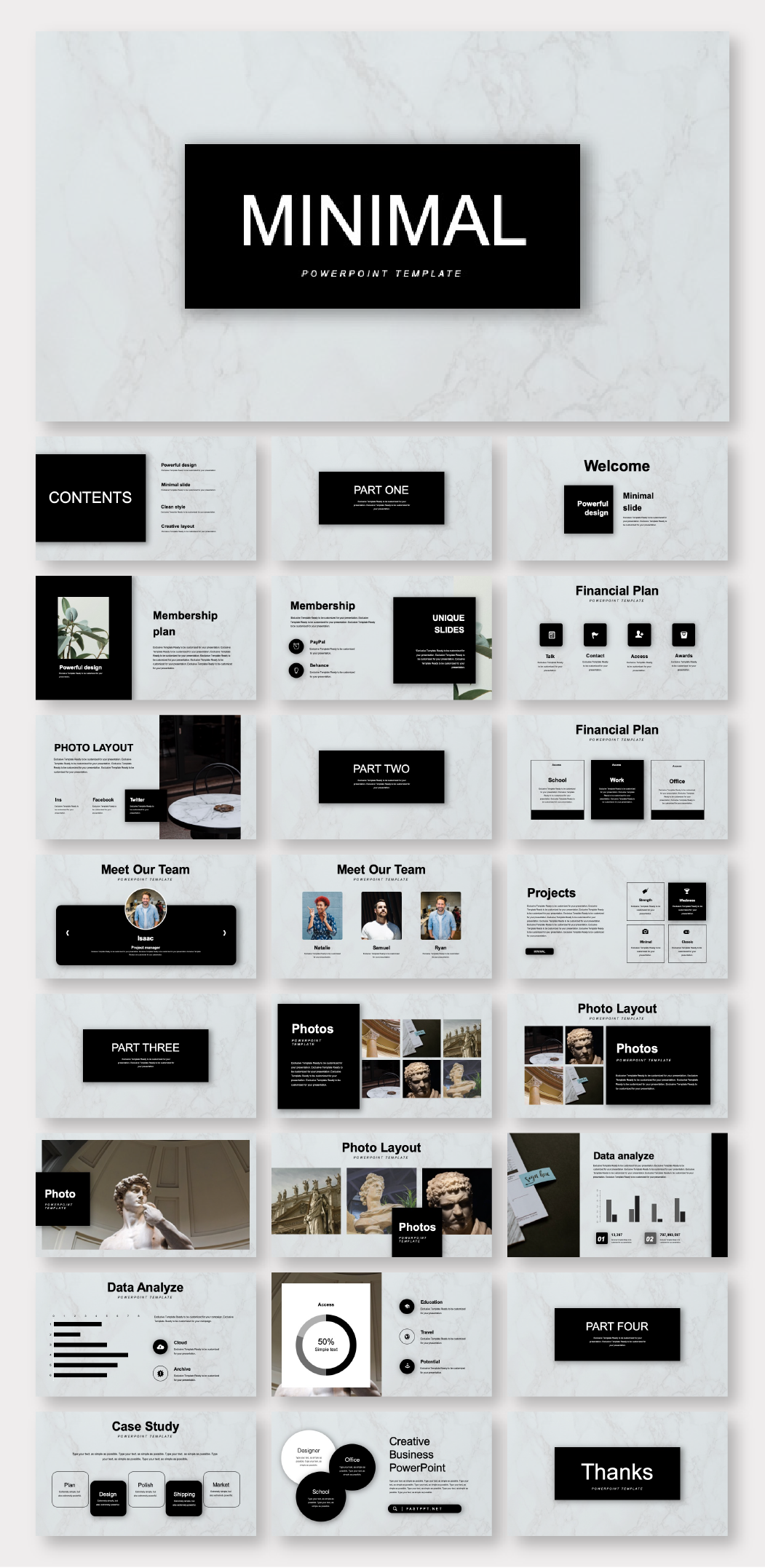Black & Marble Minimalist Business Plan Presentation Template – Original and high quality PowerPoint Templates download