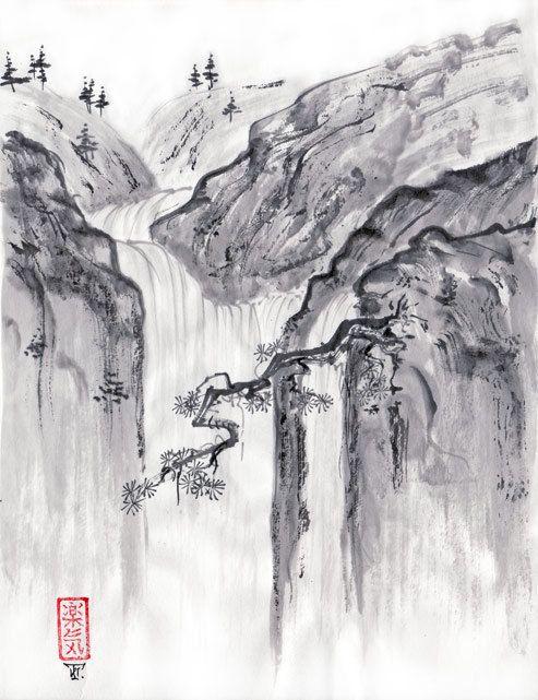 Ink Brush Painting Sumi-e Sketch Landscape Pavilion Stone Tree Figure Book