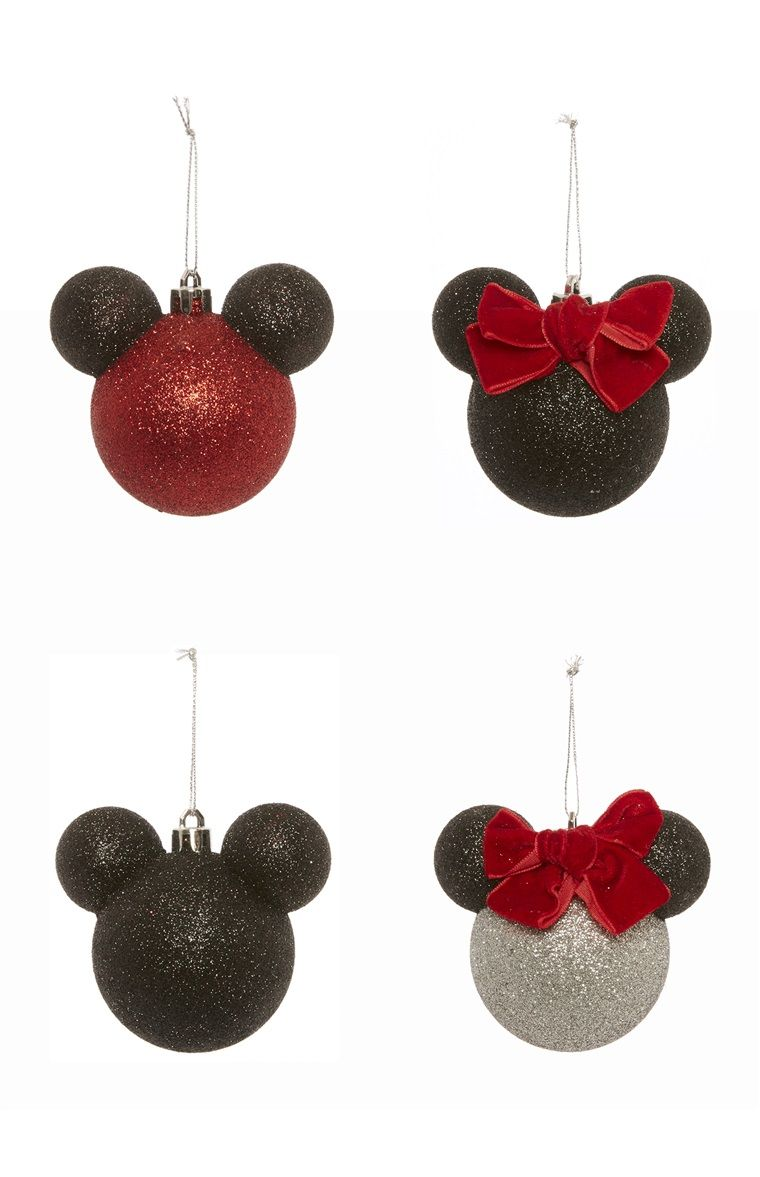 4pk Disney Mickey Minnie Baubles Christmas Disney Christmas