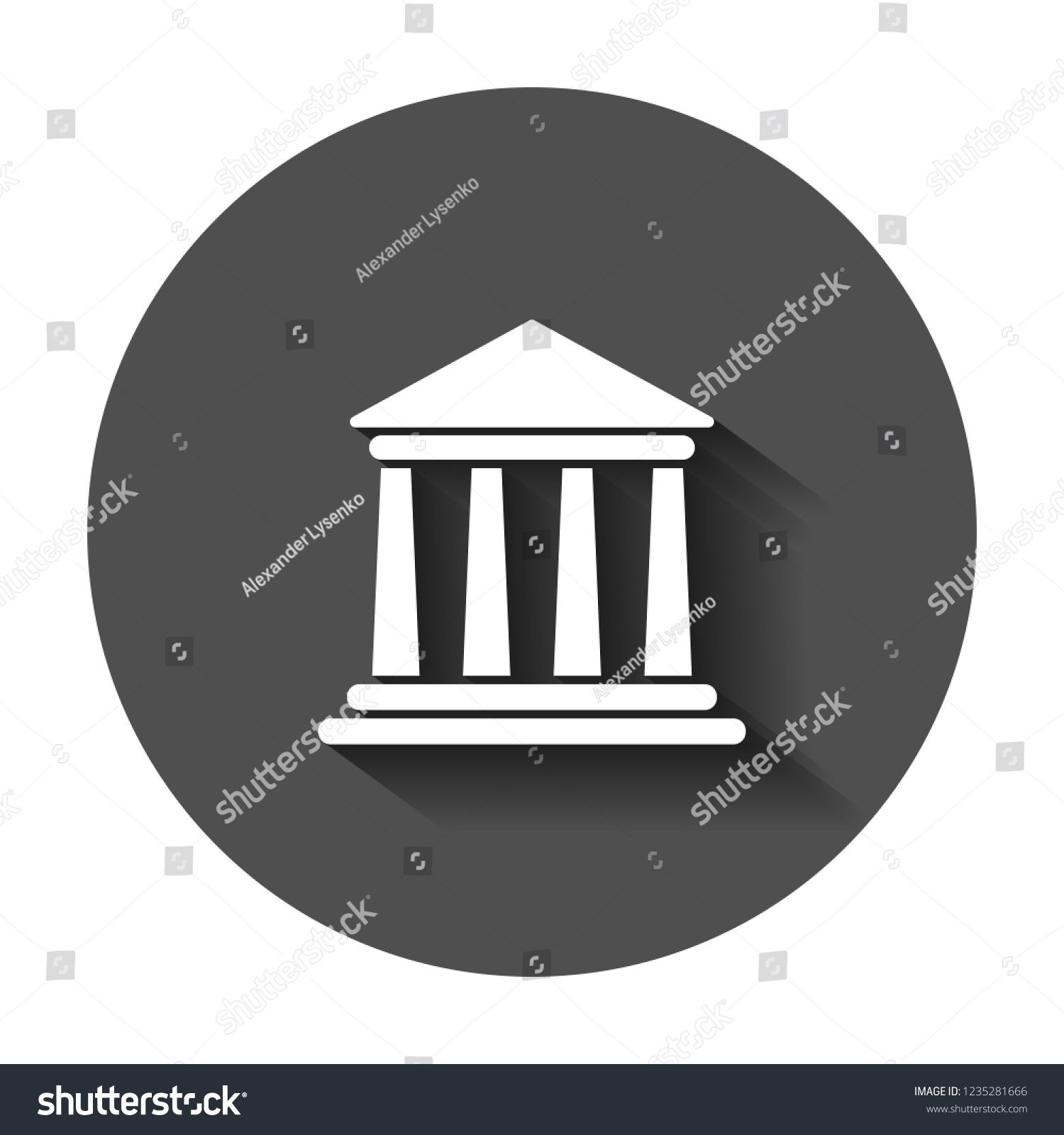 Bank Building Icon In Flat Style Government Architecture Vector Illustration With Long Shadow Museum Ext Building Icon Banks Building Government Architecture