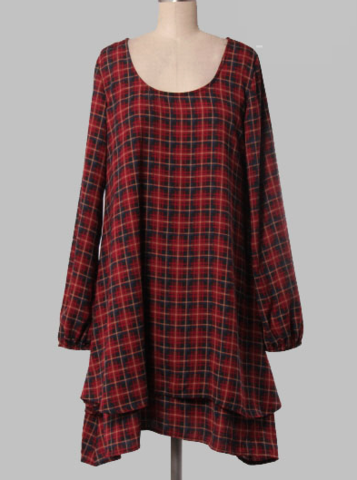 10.7.14 WOMEN'S CLOTHING OFFER. LAYERED PLAID DRESS/TUNIC. $39 WITH FREE SHIPPING