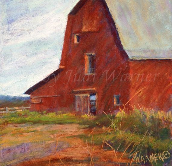 Large art print Giclee Red barn Georgia by ArtByJudiWarner on Etsy, $55.00