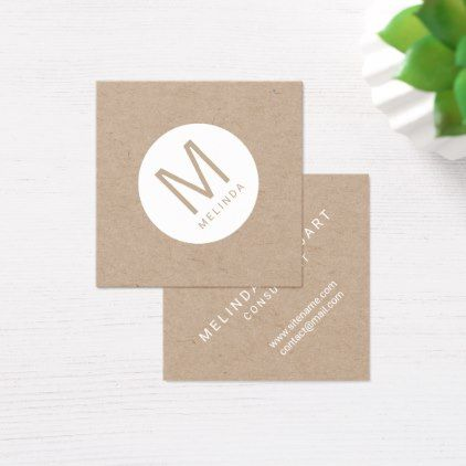 Modern minimalist monogram kraft paper square business card modern minimalist monogram kraft paper square business card boutique gifts style stylish unique ciy stylist reheart Image collections