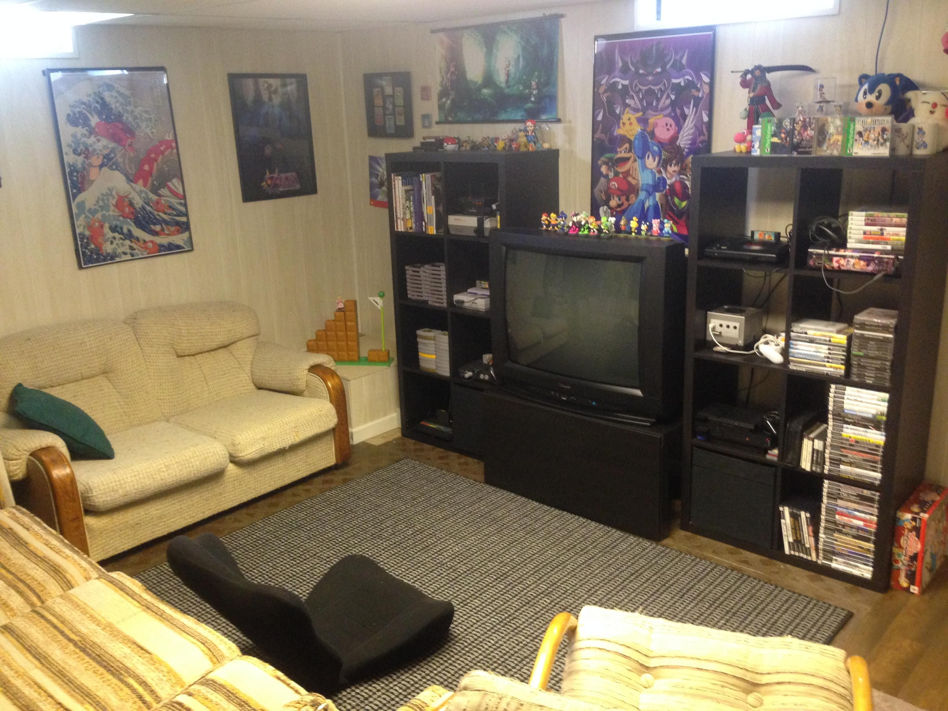 Basement Old Console Gaming Room Diy Entertainment Center Game Room Entertaining Decor