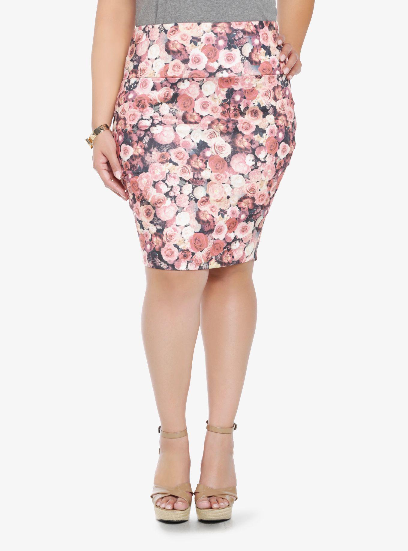 Dark floral fold over skirt torrid college style pinterest