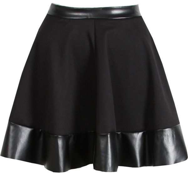 NEW WOMENS BLACK PU LEATHER TRIM SKATER SKIRT MINI PARTY HIGH WAISTED... ❤ liked on Polyvore